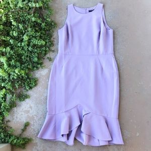 Maggy London Lilac Lavender Ruffle Sheath Dress
